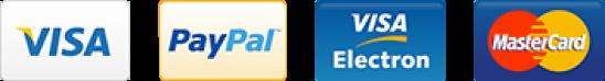 Visa, Paypal, Visa electron and mastercard