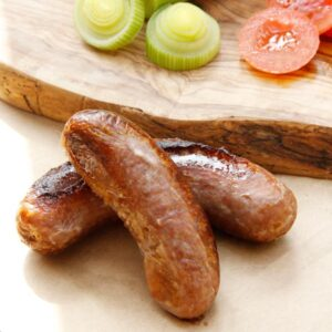 Tomato and leek sausages
