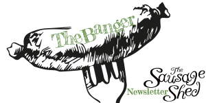 The Banger sausage shed Newsletter logo yummy sausages