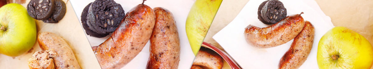 Black pudding, cider and apple pork sausages